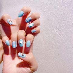 米奇格纹心形蓝色可爱美甲图片
