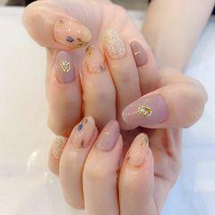 手绘花朵金属饰品美甲图片