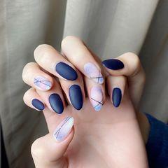 磨砂晕染蓝色延长甲美甲图片