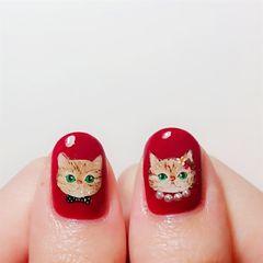 手绘猫咪可爱红色美甲图片