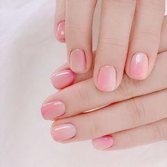 竖形渐变粉色美甲图片