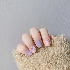 紫色蓝色美甲图片