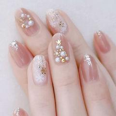 粉色裸色银色圣诞日式美甲图片