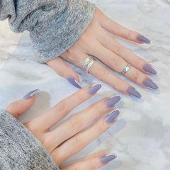蓝色简约欧美风美甲图片
