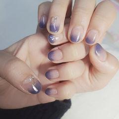 蓝色紫色渐变美甲图片