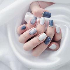 蓝色白色晕染美甲图片