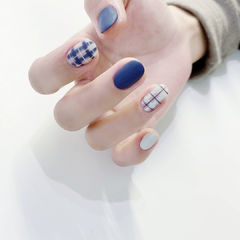 蓝色磨砂格纹美甲图片