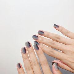 灰色黑色蓝色渐变美甲图片