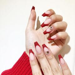 红色法式磨砂新娘欧美风美甲图片