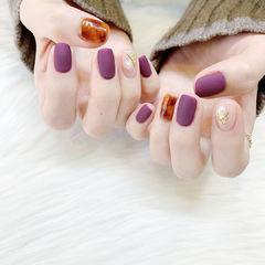 紫色晕染美甲图片