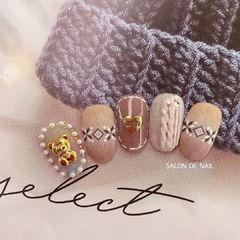 秋冬毛衣纹可爱美甲图片