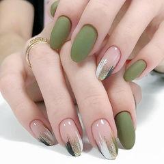 绿色磨砂欧美风美甲图片