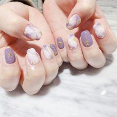 紫色香芋紫色晕染美甲图片