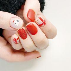 圣诞红色可爱美甲图片