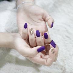 磨砂紫色美甲图片