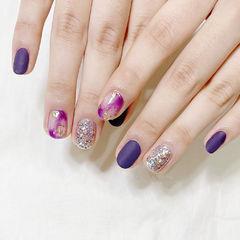 紫色磨砂晕染美甲图片