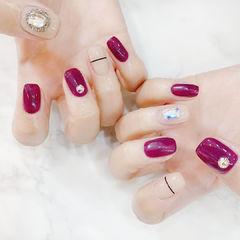 简约紫色玫红色美甲图片