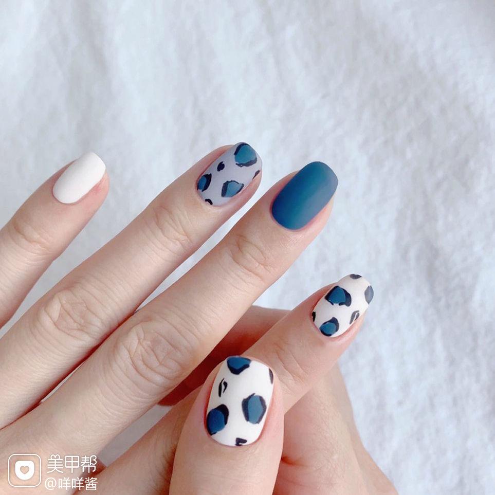 蓝色豹纹磨砂美甲图片