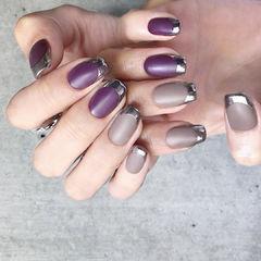 法式紫色磨砂美甲图片
