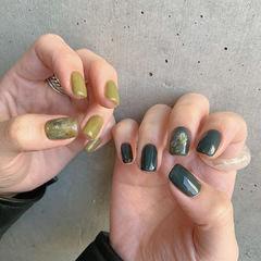 绿色鸳鸯甲晕染美甲图片