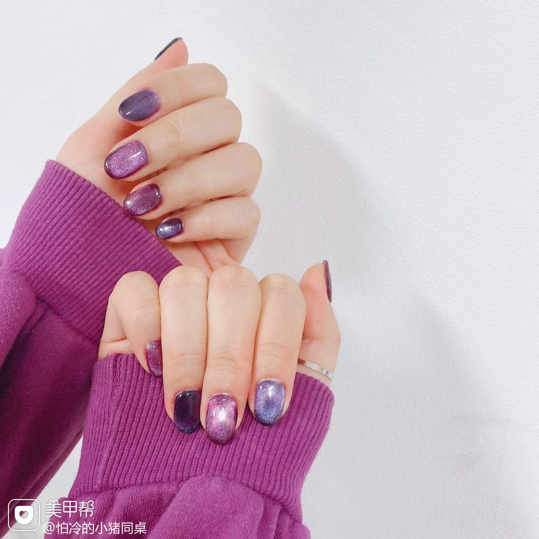 紫色晕染蓝色美甲图片