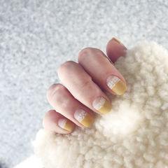 黄色磨砂法式美甲图片