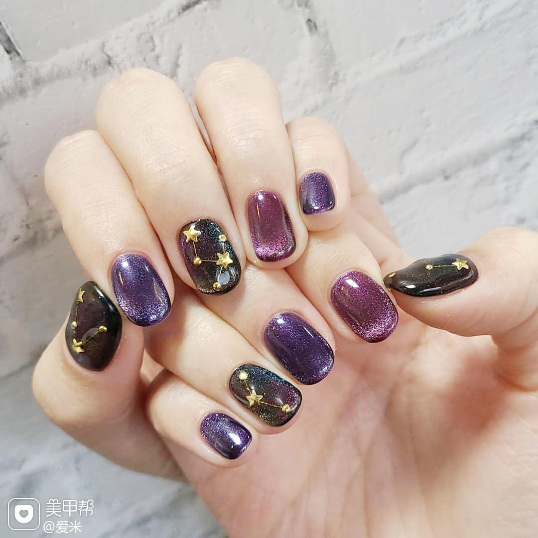 猫眼紫色美甲图片