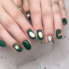 绿色美甲图片