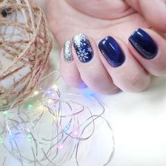 蓝色圣诞美甲图片
