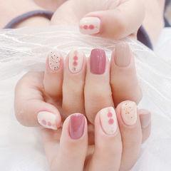 咖啡拉花粉色美甲图片