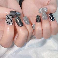 黑色灰色豹纹美甲图片
