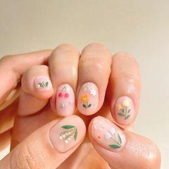 手绘夏天绿色磨砂植物美甲图片