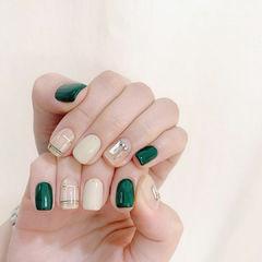 钻格纹绿色美甲图片