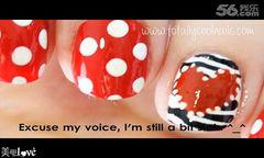 简约可爱圆形红色白色183情人节波点斑马美甲美甲图片