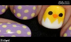 紫色黄色白色圆形可爱手绘133波点小鸡美甲美甲图片