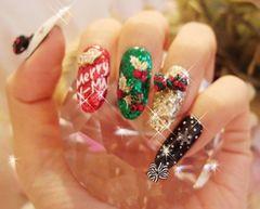 圣诞blingbling的圣诞节美甲~~~~~#美甲#~~~美甲图片