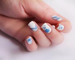 白色蓝色方圆形手绘磨砂 青花 简洁线条 简单的美美甲图片