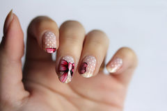 粉色圆形红色手绘可爱礼盒 波点蝴蝶结美甲图片