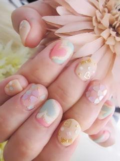 粉色白色金色日式可爱贴片糖心 爱心贴片甲~美甲图片