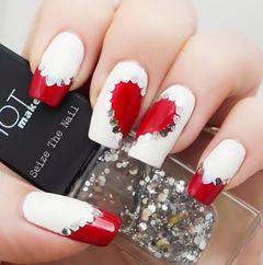 可爱日式红色白色法式方圆形法式红心美甲图片