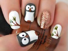 圆形白色简约可爱可爱啄木鸟韩式甲美甲图片