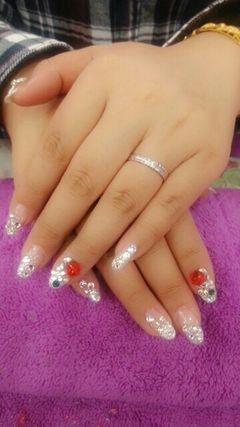 新娘银色韩式婚甲!!!美甲图片