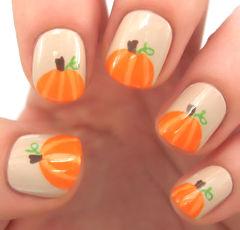 橙色手绘可爱方圆形超可爱指尖小南瓜美甲图片