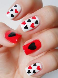 方形黑色红色白色可爱简约甜蜜桃心甲,超有爱美甲图片