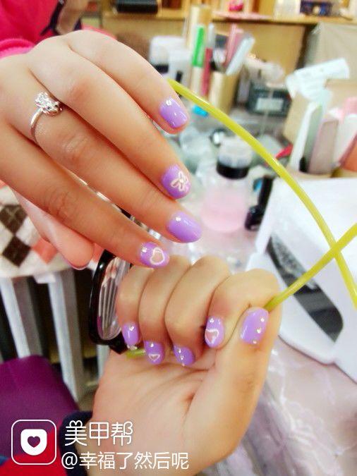 简约可爱手绘创意光疗粉色紫色白色第一次给朋友做的镂空小心,薰衣草色大爱!美甲图片