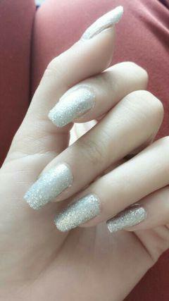 银色简约磨砂的简单,耐看美甲图片
