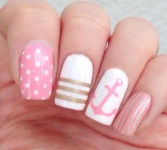 方形粉色白色可爱粉色海军风美甲,波点条纹一个也不落下!美甲图片