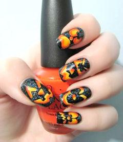 方形创意手绘橙色黄色黑色2014万圣节万圣节的南瓜美甲图片