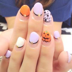 圆形手绘可爱橙色白色紫色万圣节南瓜面具美甲图片