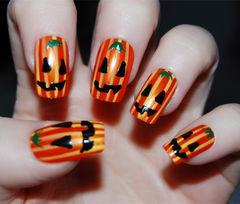 2014万圣节橙色黑色手绘方圆形万圣节小南瓜美甲图片